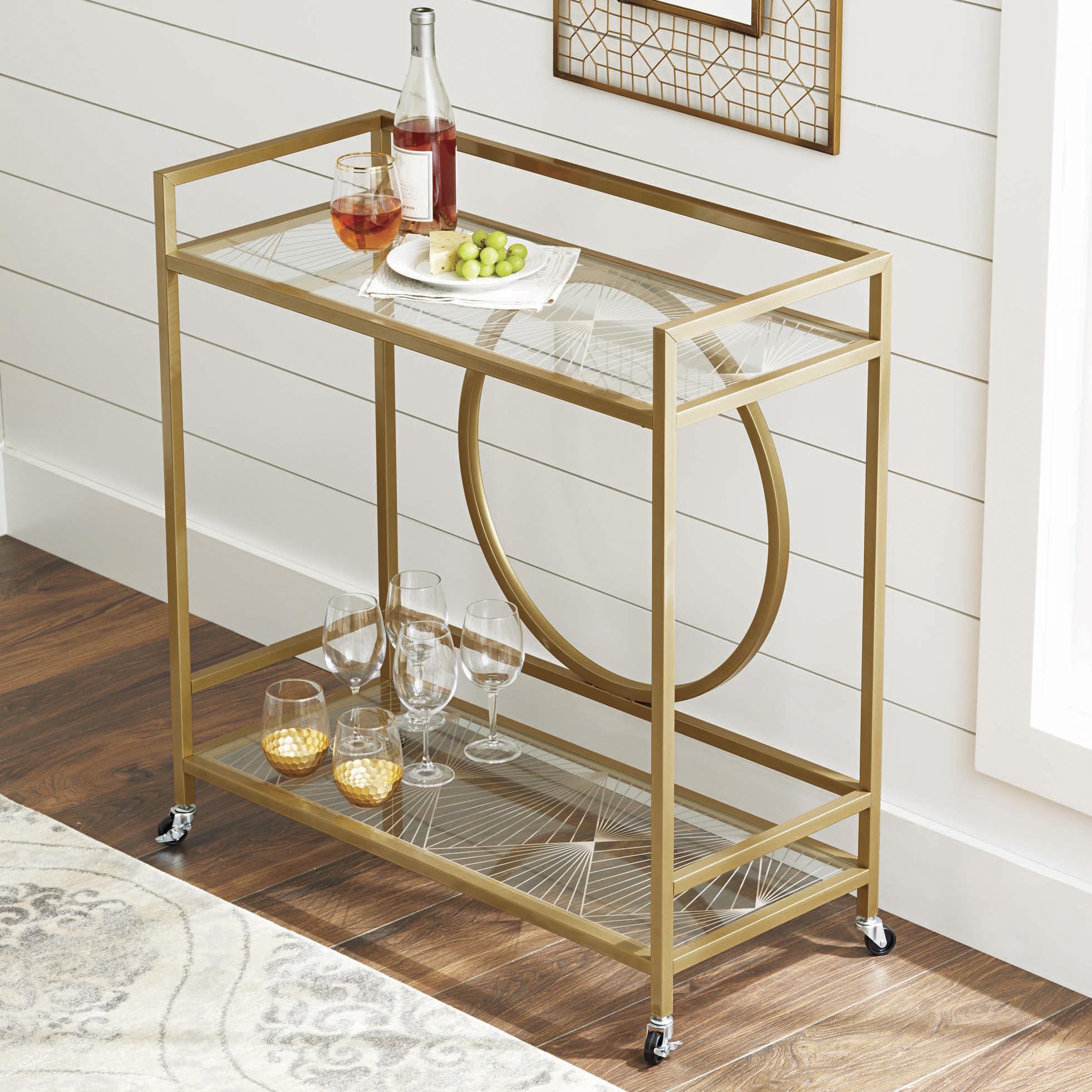 Better Homes & Gardens Nola Mid-Century Bar Cart, Gold Finish