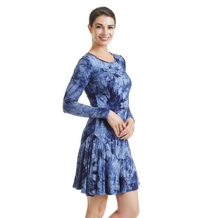 MBJ WT1157 Womens Scoop Neck Long Sleeve Bottom Ruffle Tie-Dye Short Dress L NAVY Women Tie Dye