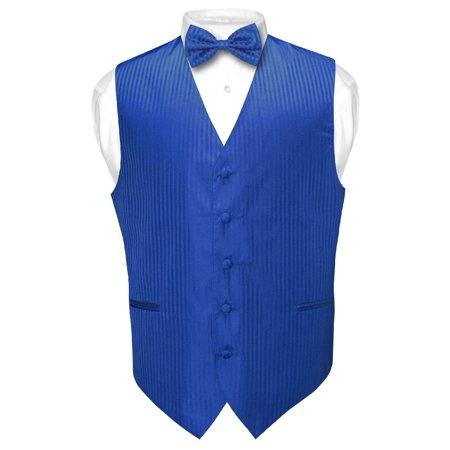 Men's Dress Vest & BOWTie ROYAL BLUE Color Vertical Striped Design Bow Tie (Design Bow Tie Set)