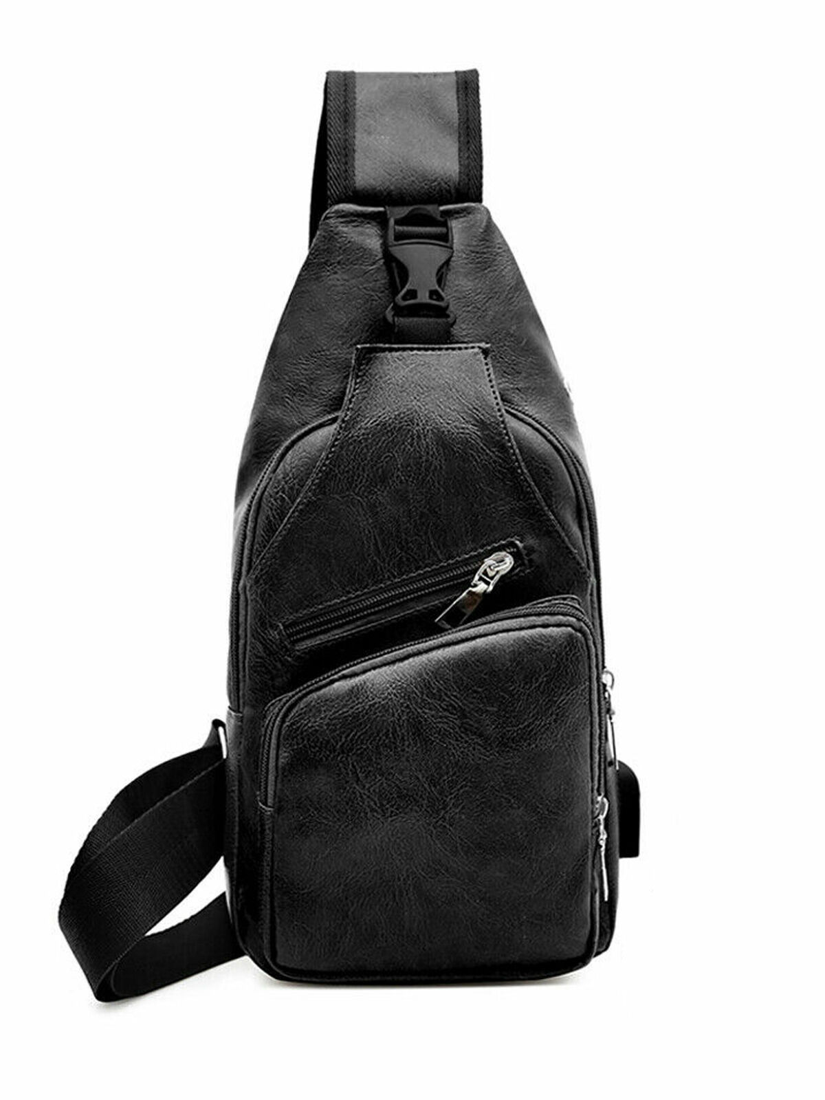 Men Leather Phone Belt Pack with Earphone Port Crossbody Chest Bag Shoulder Bag