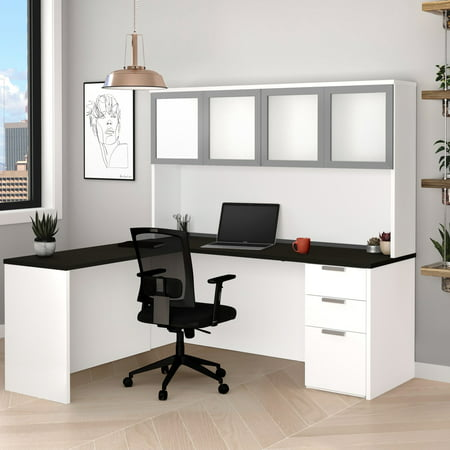 Premium Plus Hutch - Pro-Concept Plus L-Desk with Frosted Glass Door Hutch in White & Deep Grey