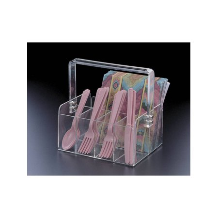 Acrylic Lucite Silverwear and Napkin Caddy with Handle