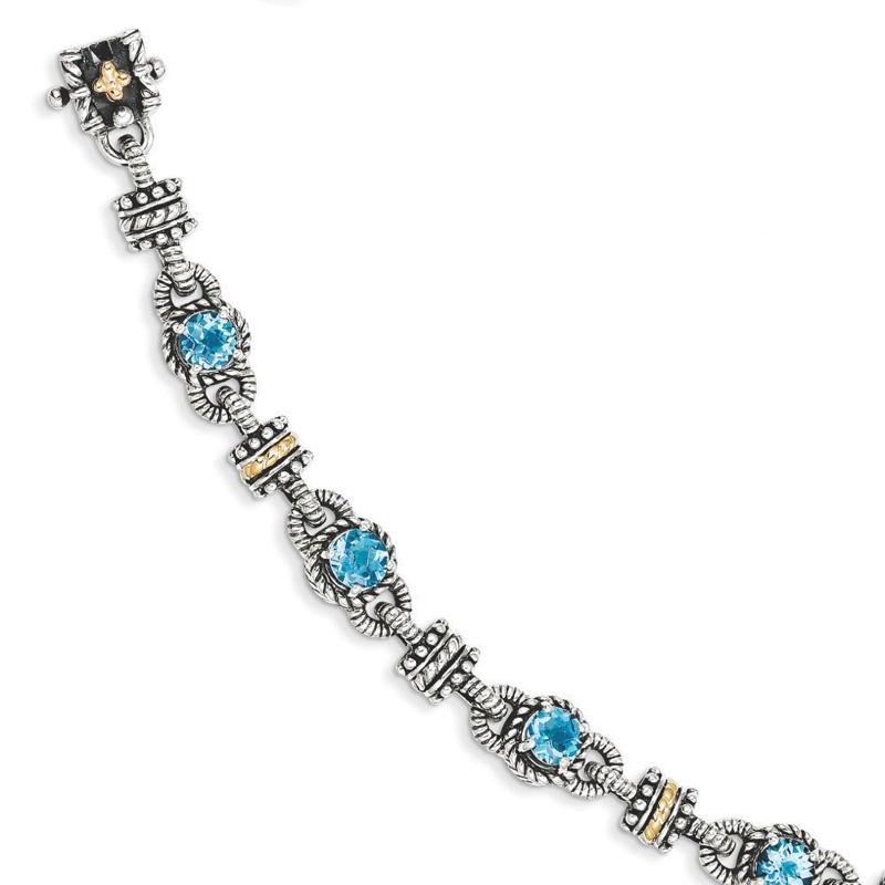Sterling Silver w 14k Swiss Blue Topaz Bracelet by Kevin Jewelers