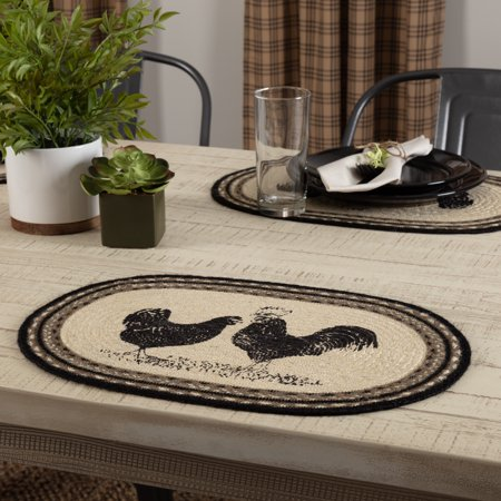 Bleached Jute - Ashton & Willow Bleached White Farmhouse Tabletop Kitchen Miller Farm Charcoal Poultry Jute Stenciled Nature Print Oval Placemat Set of 6