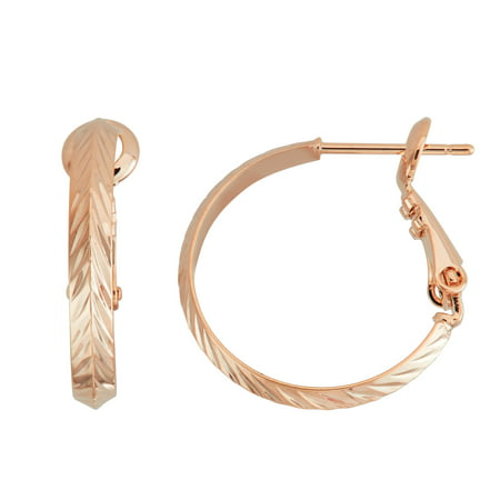 X & O Rose Gold Plated Polished 20mm Machine Cutting Diamond Cut 3mm Knife Edge Hoop - Rose Gold Plated Edges