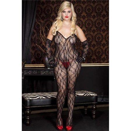 Music Legs 1875Q-BLACK Plus Size Lace Crotch Less Body Stocking with Cross Back Strap - Black - image 1 de 1