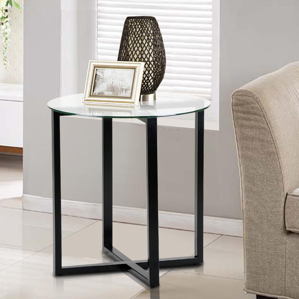 end tables bedroom yaheetech end side table glass top coffee sofa table 11510