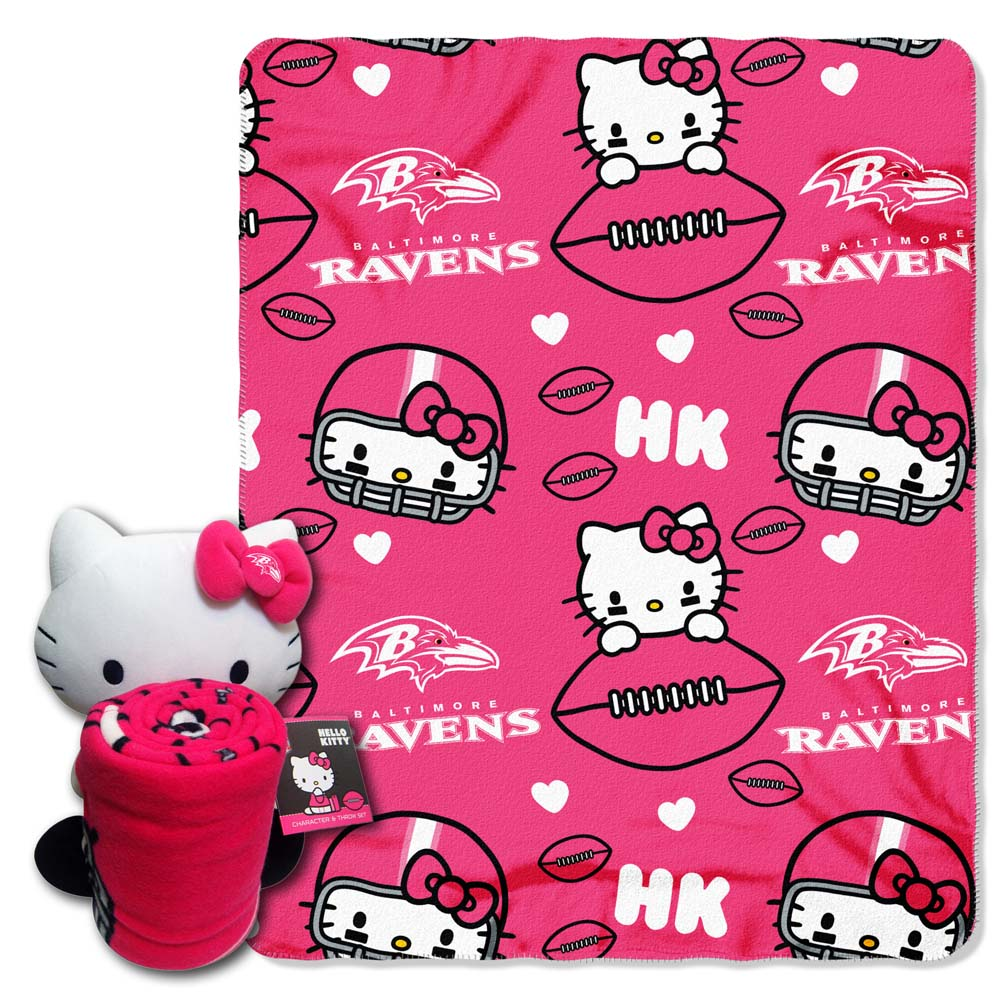 Baltimore Ravens Hello Kitty Pillow \/ Throw Combo