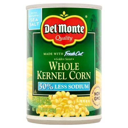 (6 Pack) Del Monte Fresh Cut Golden Sweet Whole Kernel Corn, 50% Less Sodium, 15.25 Oz (Sweet Cut Corn)