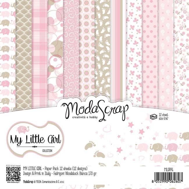 "My Little Girl - Elizabeth Craft ModaScrap Paper Pack 6""X6"" 12/Pkg"