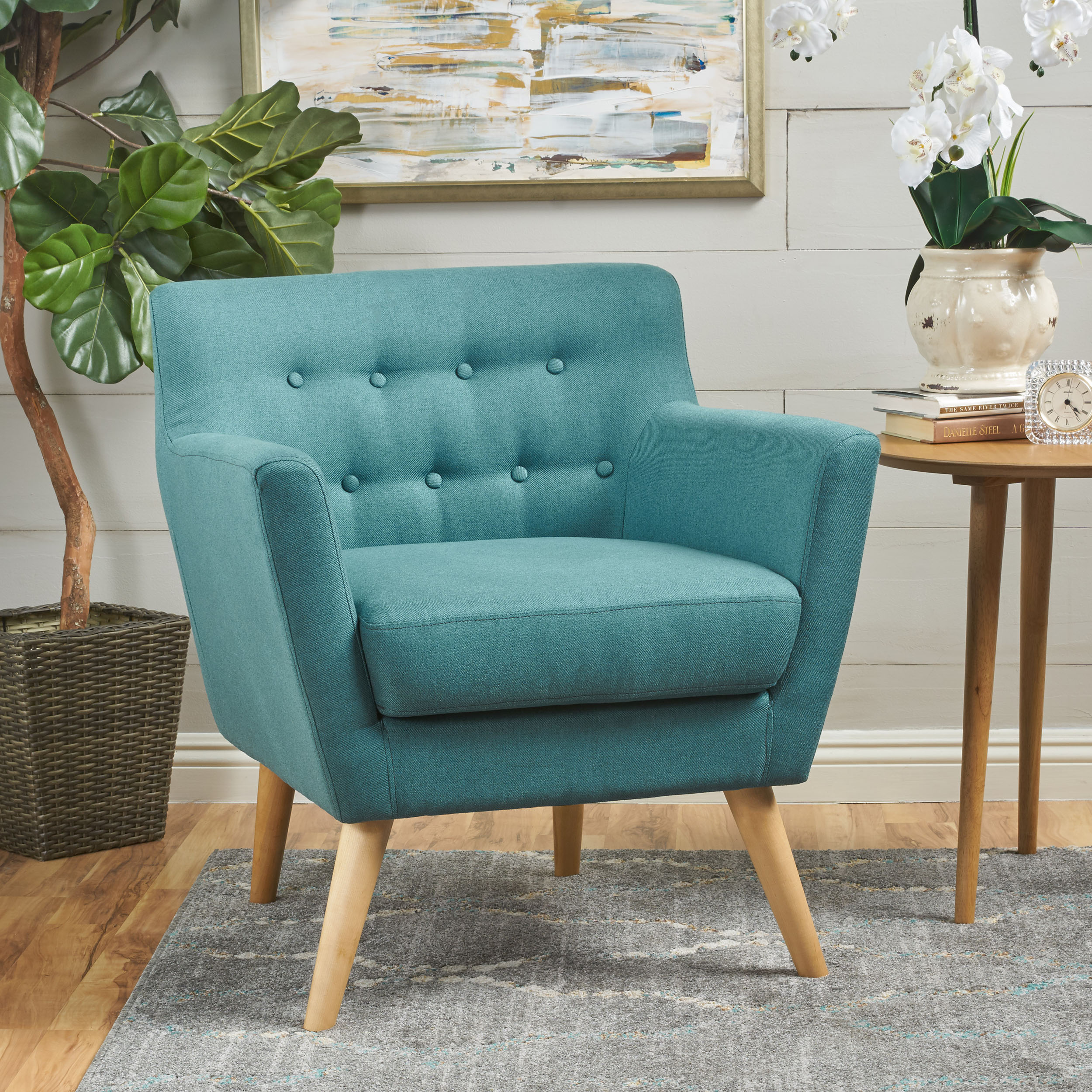 Madeira Buttoned Mid Century Modern Fabric Club Chair