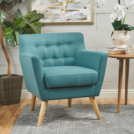 Madeira Buttoned Mid Century Modern Fabric Club Chair, Dark Teal