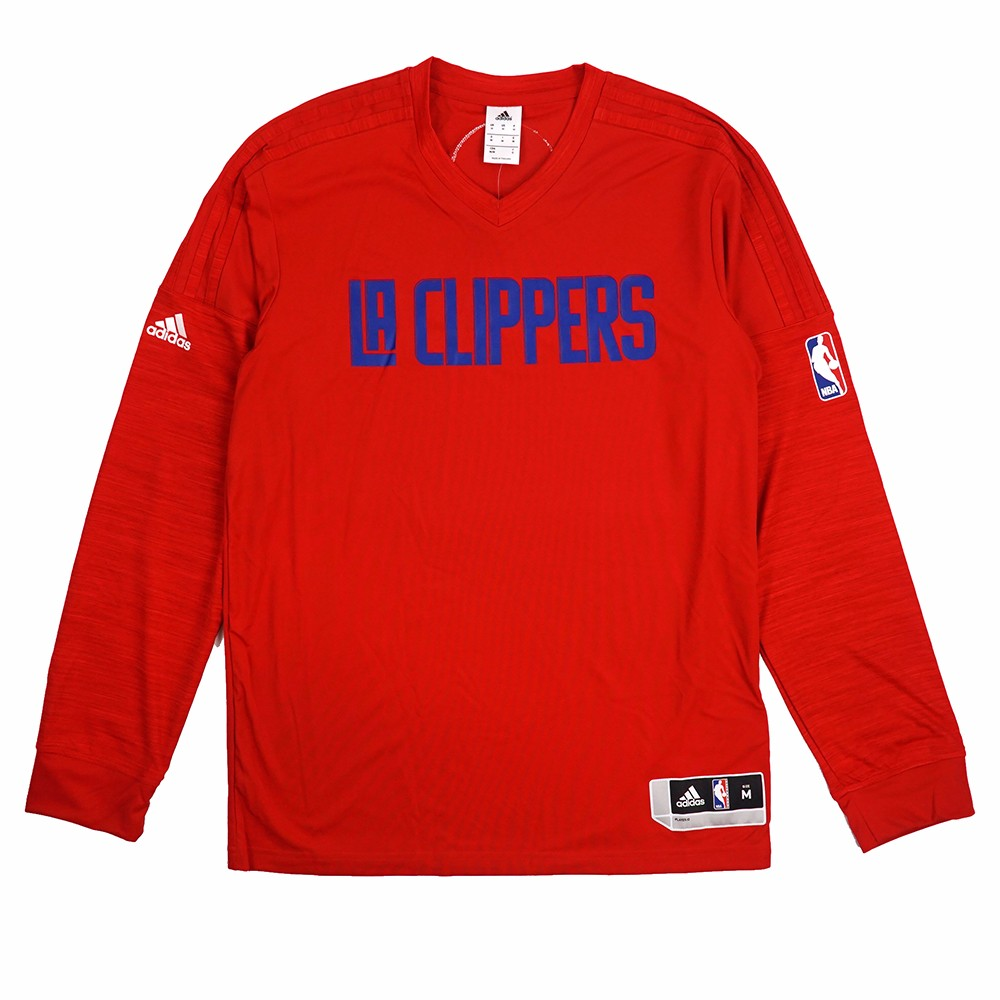 Los Angeles Clippers NBA Adidas Red Authentic On-Court Climalite Performance Long Sleeve Shooter Shirt For Men