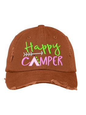 e5e425f5a4774 Product Image Distressed Baseball Cap Women Disressed Hats for Men  Embroidered Happy Camper