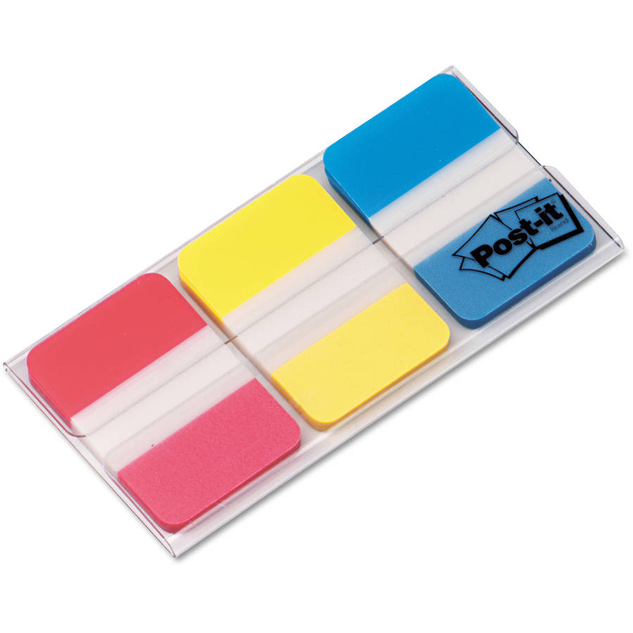 Post-it File Tabs, 1 x 1 1/2, Assorted Primary Colors, 66/Pack