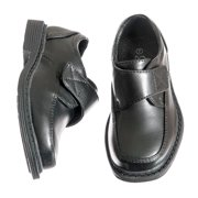 Kids Black Velcro Square Toe Dress Shoe