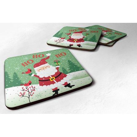 Merry Christmas Coaster - Set of 4 Merry Christmas Santa Claus Ho Ho Ho Foam Coasters Set of 4 VHA3016FC