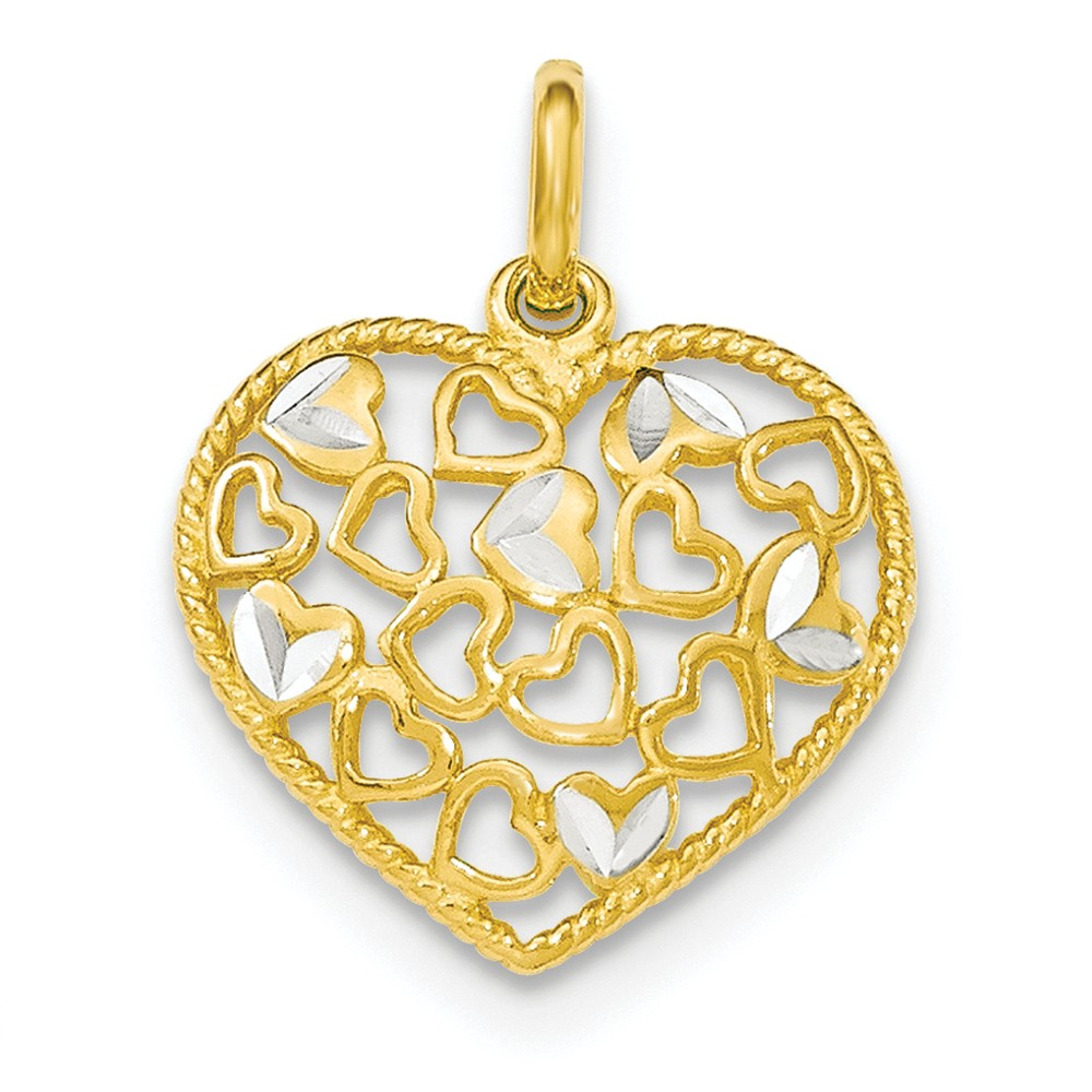 Sterling Silver Polished Flash Gold Diamond-cut Heart Pendant