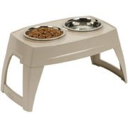 "New Suncast PFT800 Compact Elevated Pet Feeder Feeding Tray Removable 8"" Bowls"
