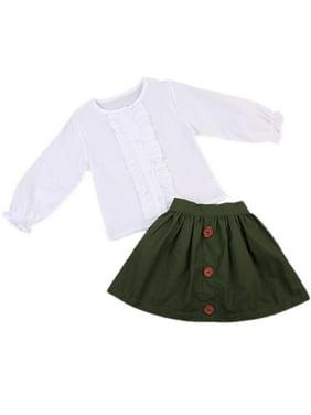 Kids Baby Girls princess Clothing Long Sleeve Tassel Patchwork T-shirt + Button Skirt 2pcs Outfits Clothes Casual Children Set