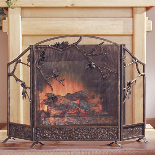 SPI Home Pinecone 3 Panel Cast Iron Fireplace Screen