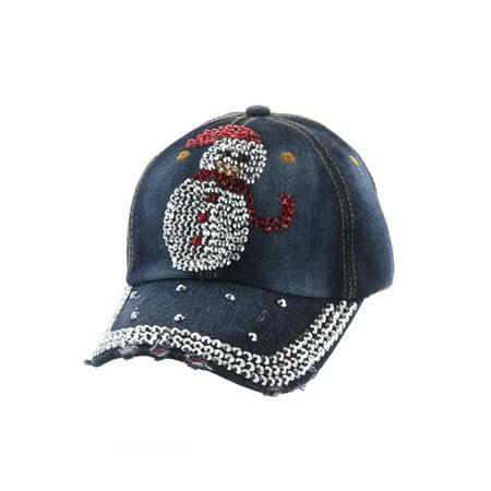 Top Headwear Studded Snowman Denim Baseball Cap