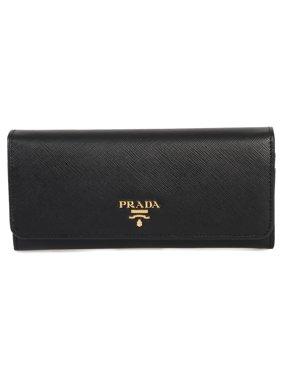 93150e68e8 Product Image Prada Black Saffiano Leather Flap Wallet 1MH132 QWA F0002