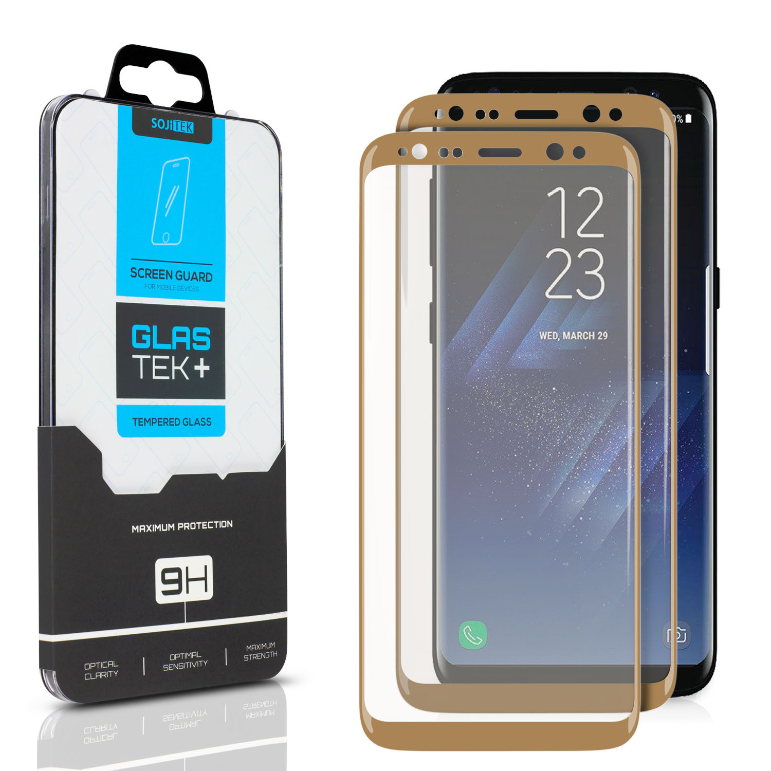 SOJITEK Samsung Galaxy S8 Screen Protector, 2 Pack, Full Coverage 3D Tempered Glass (Sticking well to sides / No losing adhesive side) - Black