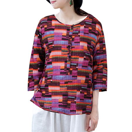 ZANZEA Women's Round Neck Summer Tops Casual Vintage Printed T-Shirt Loose 3/4 Sleeve Tops Shirts - image 1 of 5