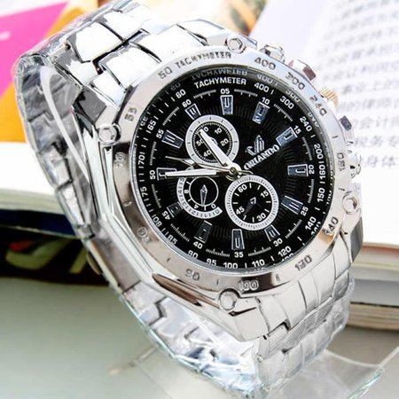 Fashion Men Stainless Belt Sport Business Quartz Watch Wristwatches PAGACAT