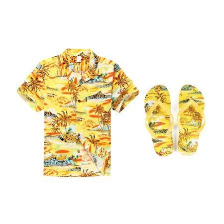 Men Matching Hawaiian Luau Outfit Aloha Shirt and Flip Flops in Sunset Yellow Shirt L Sandal 8