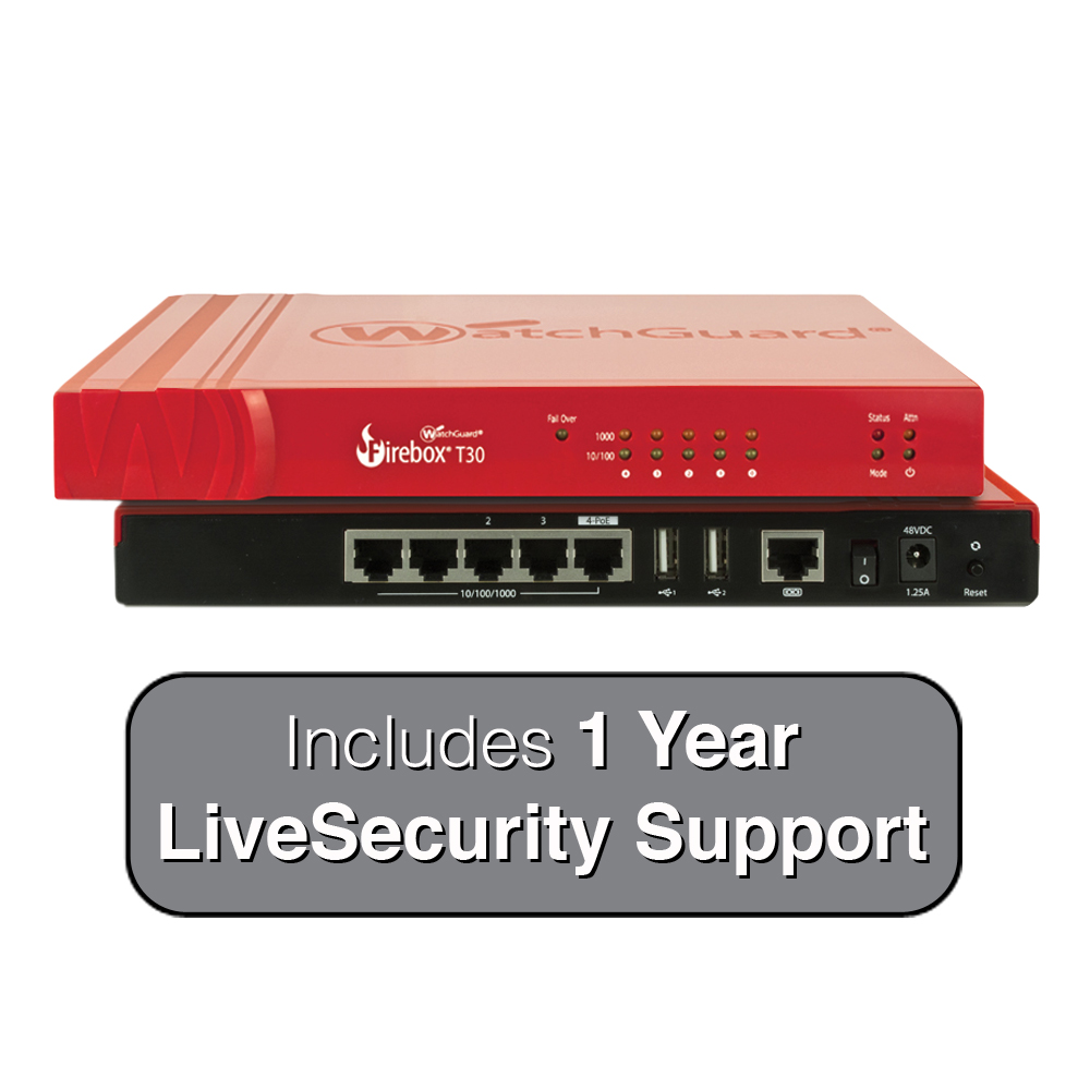 WatchGuard Firebox T30 with 1-Year Standard Support