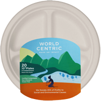 """World Centric Compostable Wheat Straw 3-Compartment Plates, 10"""", 20 Count"""