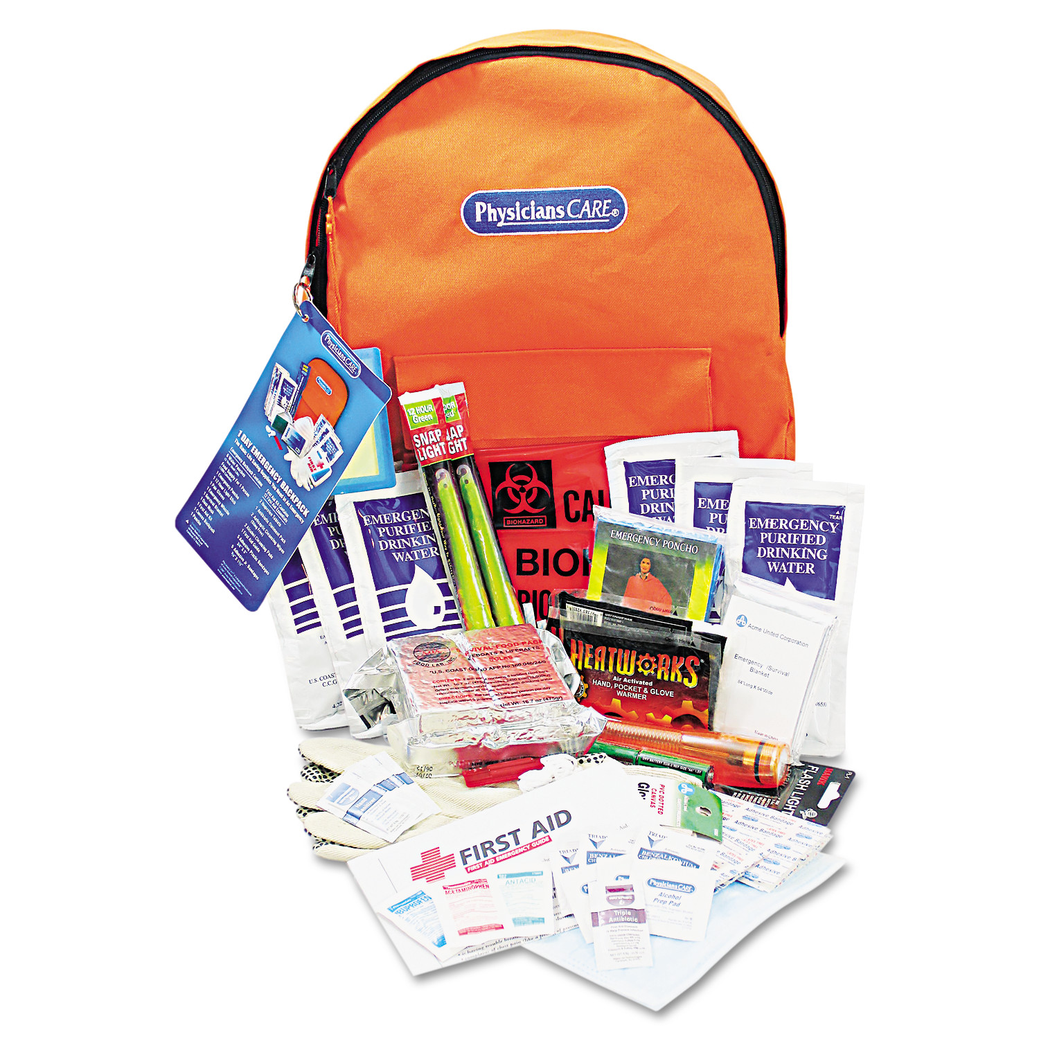 PhysiciansCare by First Aid Only Emergency Preparedness First Aid Backpack, 63 Pieces/Kit
