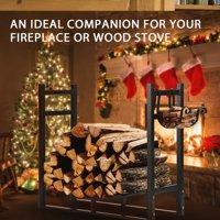 3ft Heavy Duty Indoor Outdoor Firewood Storage Log Rack with Kindling Holder