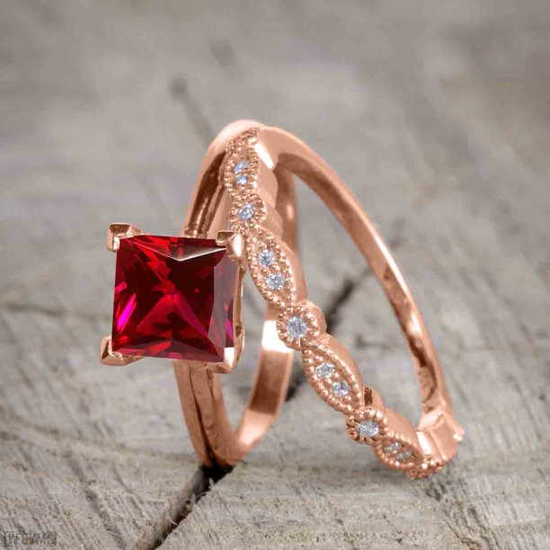 Antique Artdeco 1.25 Princess cut Ruby and Diamond Wedding Bridal Set in Rose Gold