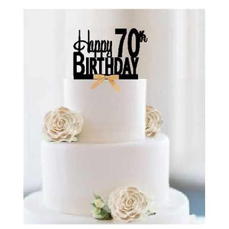 Item#070CTGR - Happy 70th Birthday Elegant Cake Decoration Topper with Gold Bow](Happy Halloween Birthday Cakes)