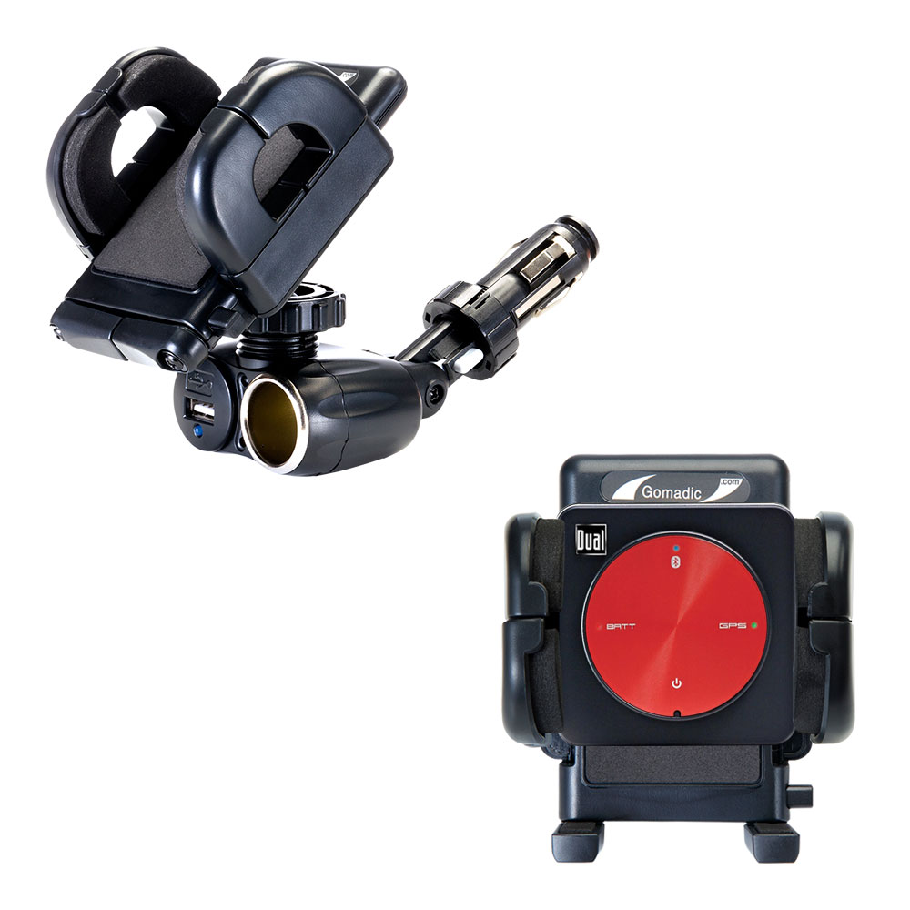 Dual USB / 12V Charger Car Cigarette Lighter Mount and Holder for the Dual Electronics XGPS150