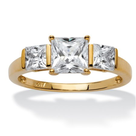 Princess-Cut Cubic Zirconia 3-Stone Bridal Engagement Anniversary Ring 1.94 TCW in Solid 10k Gold