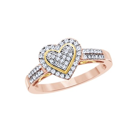 5cc2dd2cfc AFFY - Round Cut White Natural Diamond Heart Ring in 10k Rose Gold (0.33  Cttw) - Walmart.com