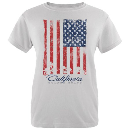 Flag Palm Trees California Golden State Womens Organic T Shirt White MD