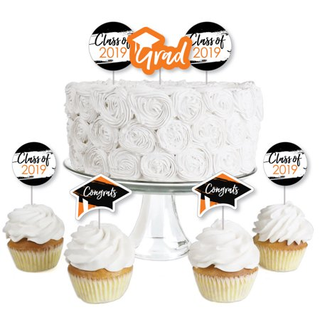 Orange Grad - Best is Yet to Come - Dessert Cupcake Toppers - Orange 2019 Graduation Party Clear Treat Picks - Set of (Best Time To Pick Oranges)