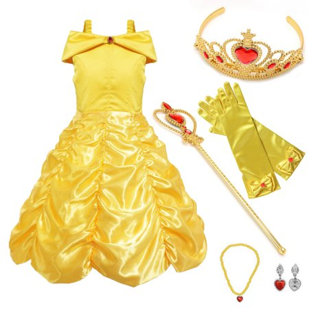 Princess Costume Yellow Drop Shoulder Layered Party Dress up 4 Sets M