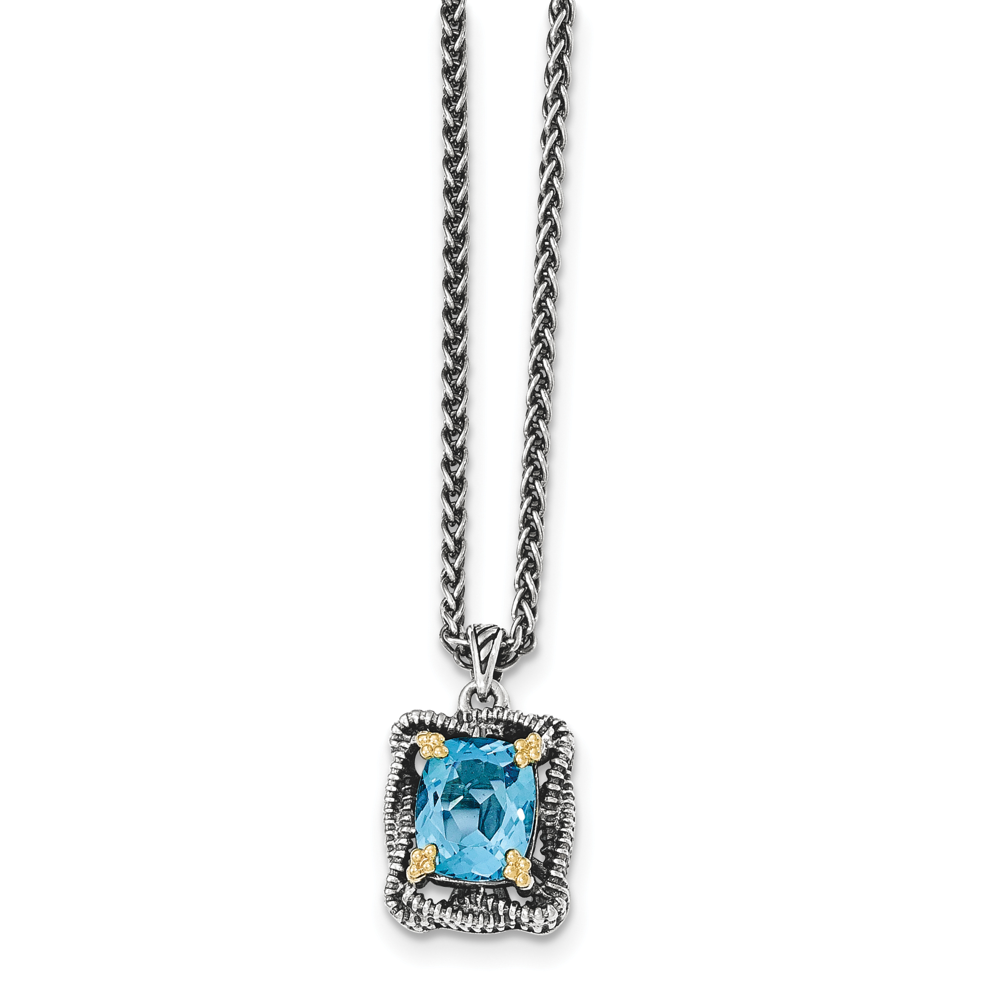 14k Silver Two-Tone Sterling Silver w  Lt Swiss Blue Topaz Necklace by