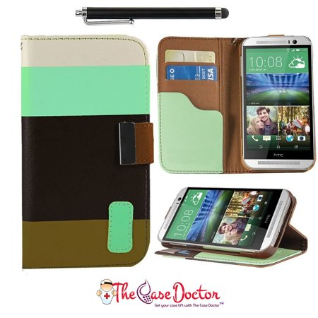 TCD HTC One M8 Colorful PU Leather Wallet Case Cover Screen Protector