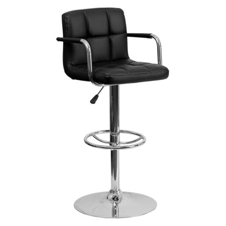 Flash Furniture Contemporary Quilted Vinyl Adjustable Height Barstool with Arms and Chrome Base, Multiple Colors