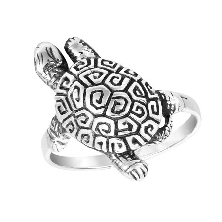 Exotic and Rare Greek Key Turtle Shell .925 Silver Ring-6 Sterling Silver Longhorn Key Ring