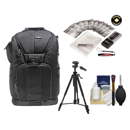 "Vivitar Series One Digital SLR Camera/Laptop Sling Backpack - Small (Black) Holds Most 14'"" Laptops with 58"" Tripod + Kit for Canon, Nikon, Olympus, Panasonic, Fuji & Sony Alpha Cameras"