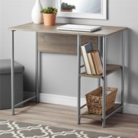 Mainstays Basic Metal Student Computer Desk, Rustic Oak