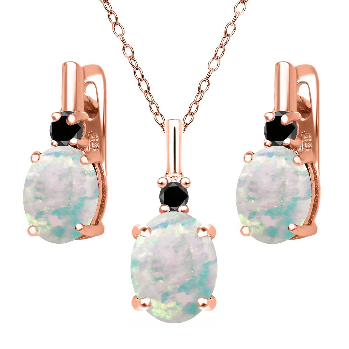 4.87 Ct Simulated Opal and Black Diamond 18K Rose Gold Plated Silver Jewelry Set by